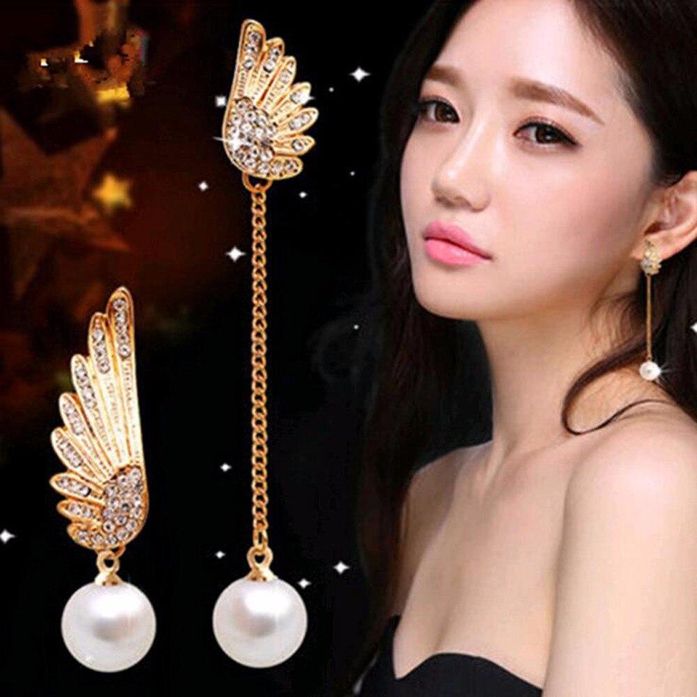 TOMTOSH 2017 new lady elegant gold asymmetrical angel wings earrings woman's long pearl earrings earrings