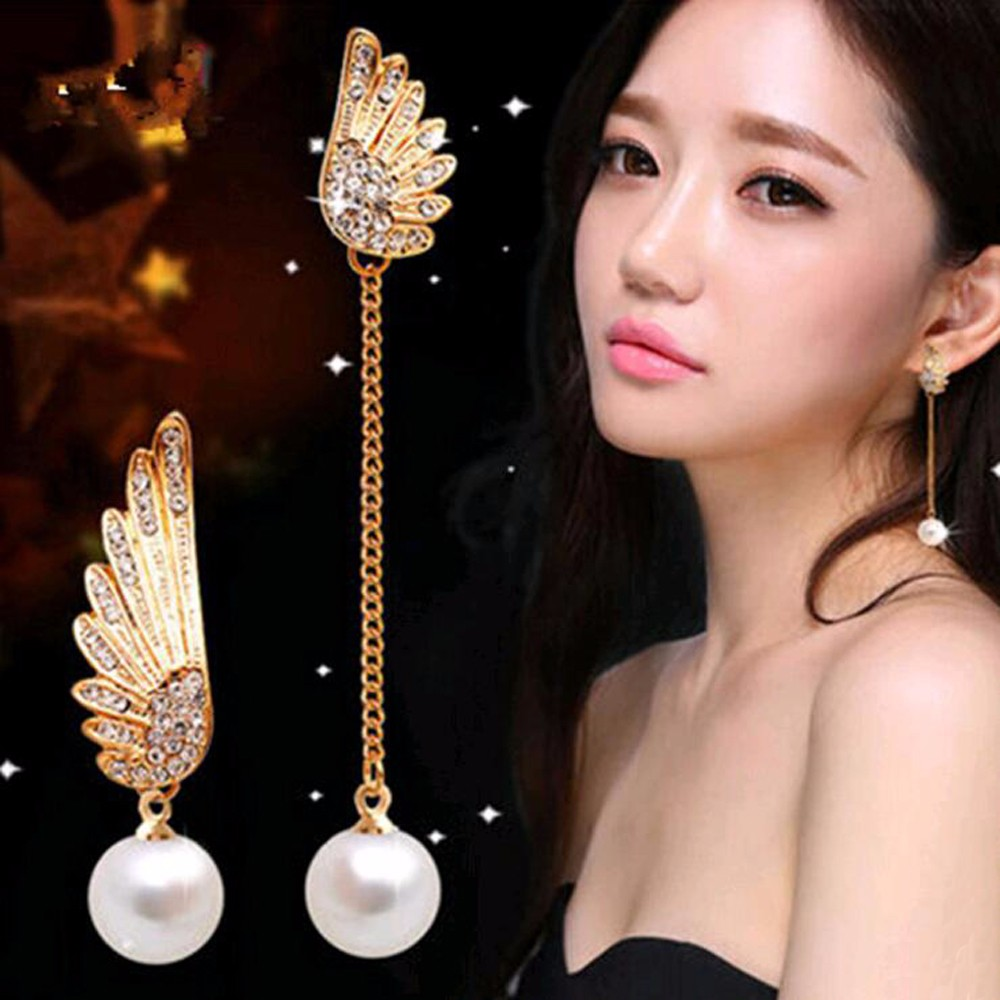 Tomtosh 2017 New Lady Elegant Gold Asymmetrical Angel Wings Earrings Woman's  Long Pearl Earrings Earrings(