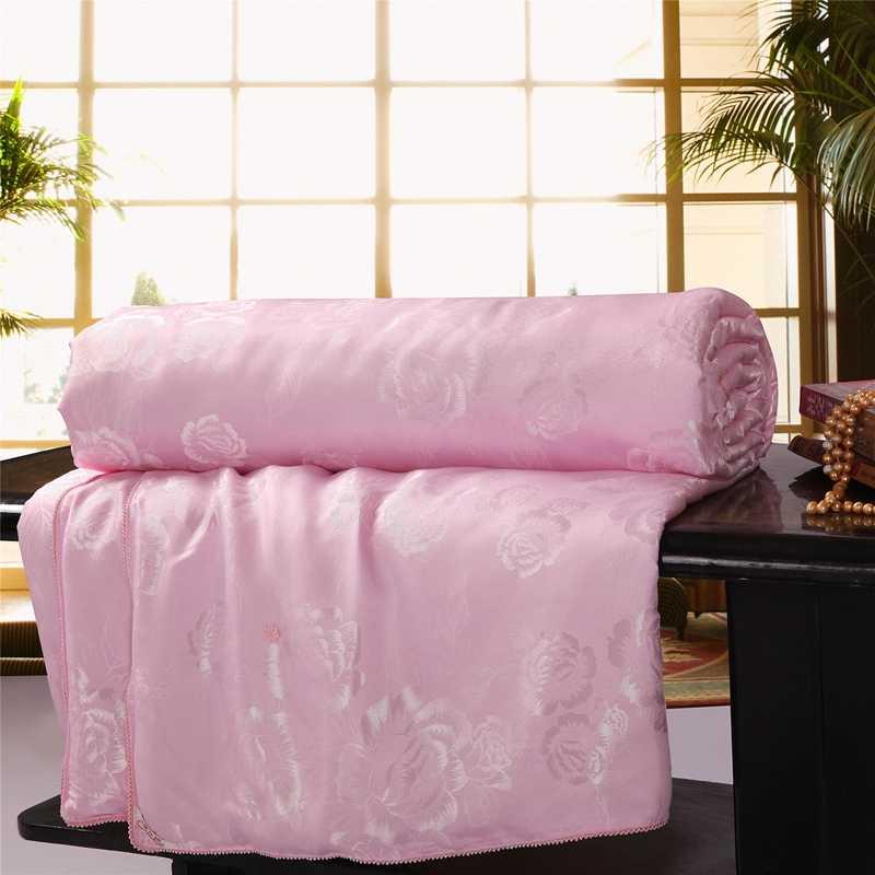 100% selimut sutra/selimut/selimut/selimut untuk musim panas & musim dingin raja ratu kembar ukuran tempat tidur buatan tangan putih/warna pink gratis pengiriman