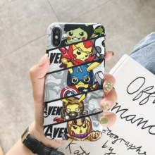 Cartoon Pikachus&Avengers cute Phone Case Soft Cover For iPhone 6 6s 7 8 Plus X XS XR XSMax
