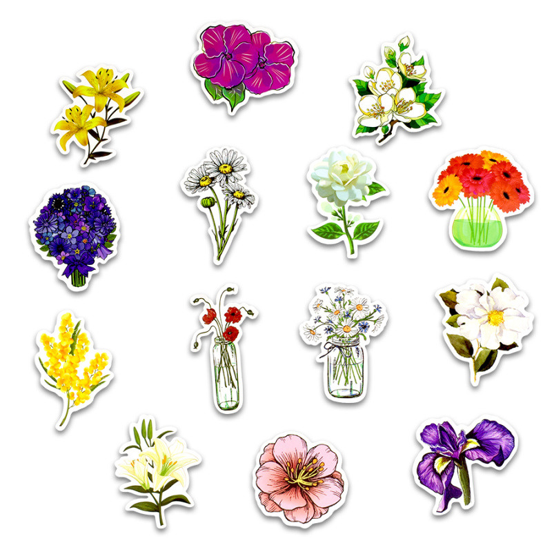 Image 3 - 50pcs spring flower stickers vinyl laptop skin plant floral sticker refrigerator suitcase sticker for MacBook Air Pro Retina/HP-in Laptop Skins from Computer & Office