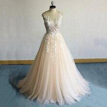 Champagne Lace Wedding Dress 2019 bruidsjurken Appliques Zipper Buttons A Line abiti da sposa Bride Gowns