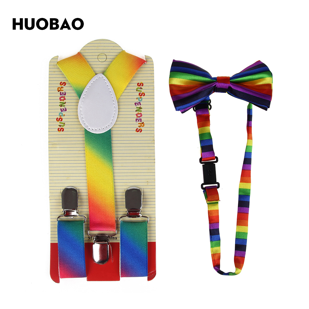 HUOBAO 2017 New Fashion Colorful Rainbow Striped Braces And Bow Ties Sets For Children Boys