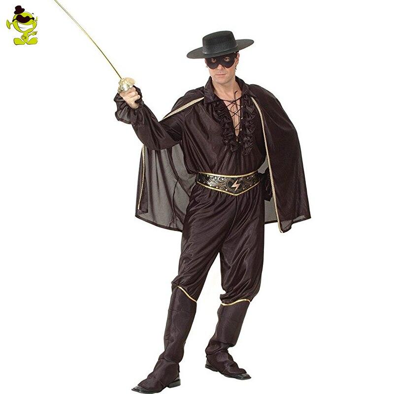 Nouveautés homme Zorro cosplay costumes film les nouvelles aventures de Zorro costume tenue de héros de Bandit pour mascarade de super héros