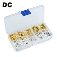 DC 1600pcs/box 3/4/6mm Mixed Gold/Silver Color Round Matte Copper Beads CCB Plastic Spacer Beads for Jewelry Making Materials