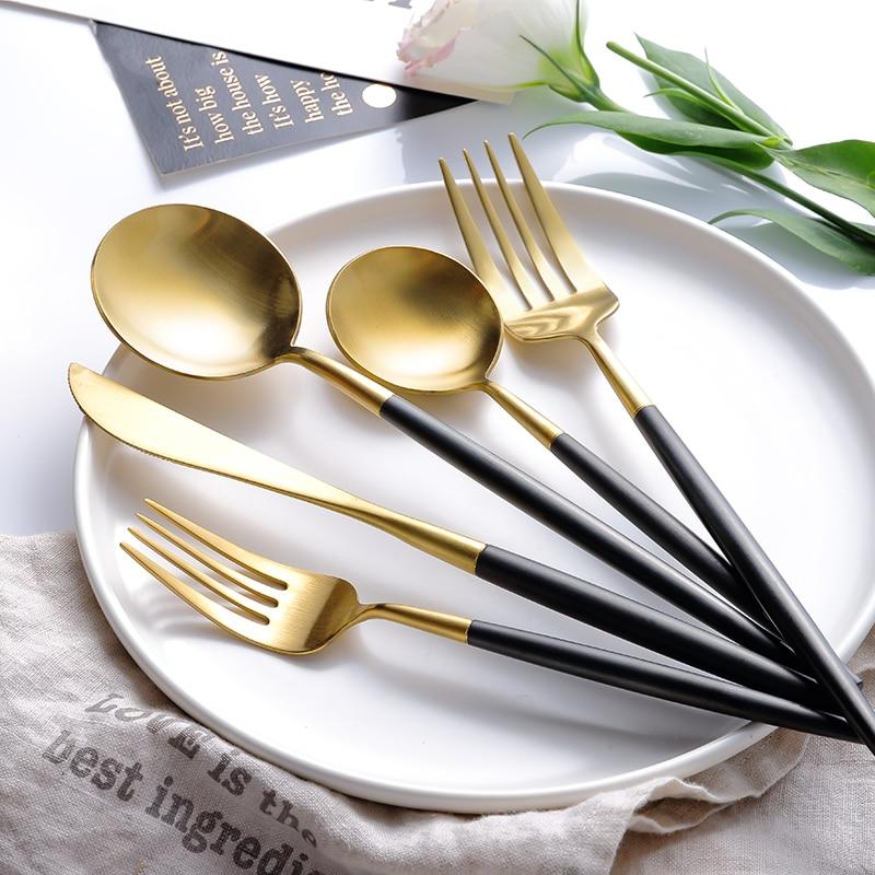 20pcs KuBac Hommi 18 10 Quality Stainless Steel Knife Dessert Fork Gold Dinnerware Set Black Gold