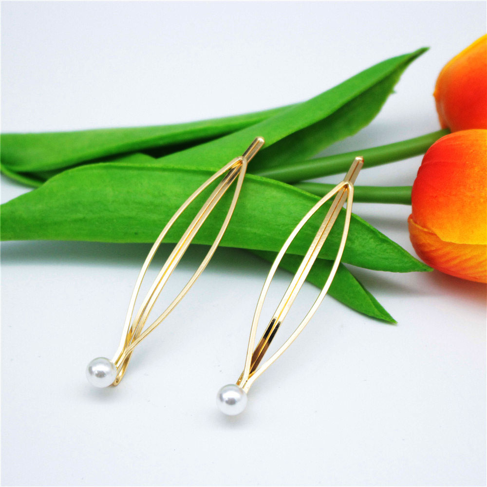 Fashion Women Metal Pearl Hair Pin Barrette Clip Side Hairpin Hair Accessory