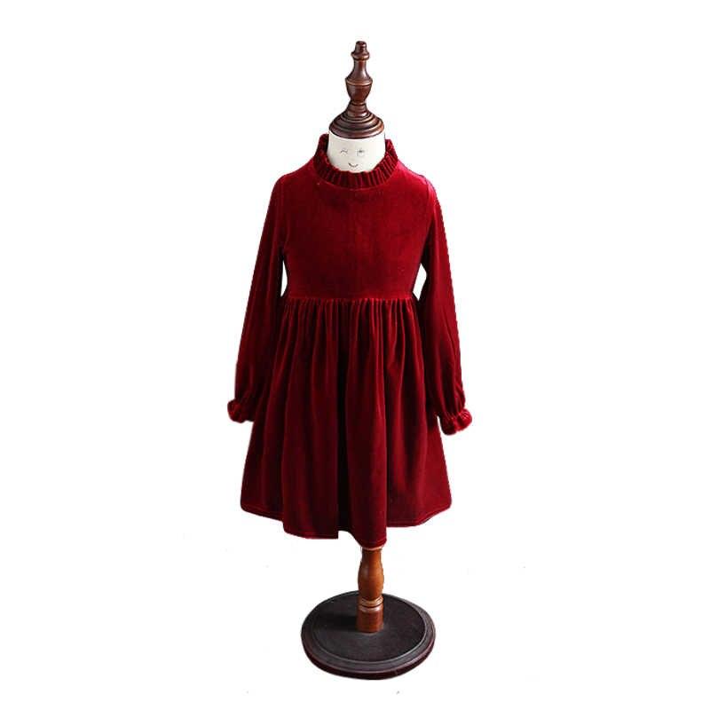 Kids Winter Long-Sleeve Dresses Age For 4-14 Yrs Teenage Girl Velvet Elegant e6db19548528