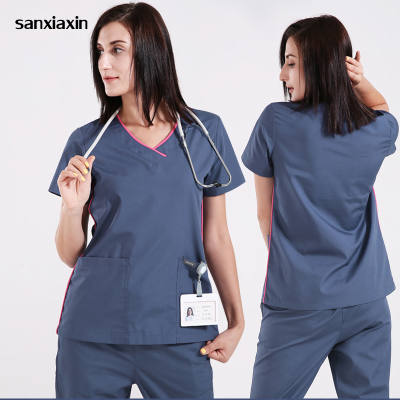 sanxiaxin Medical Clothes Scrub Sets Doctors Nurses Short Sleeve Uniforms Dentistry Oral Clinic Pet Doctor Workwear