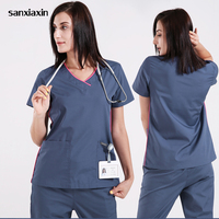 sanxiaxin Medical Clothes Scrub Sets Doctors Nurses Short Sleeve Uniforms Dentistry Oral Clinic Pet Doctor Workwear Overall New