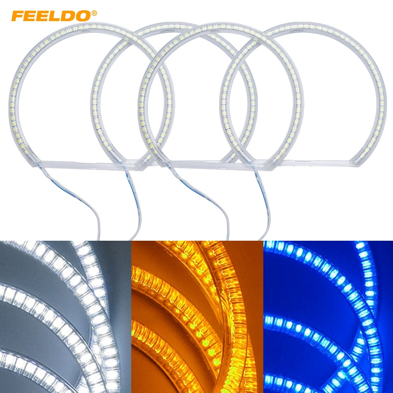 FEELDO 4X131mm Auto SMD Angel Eyes Light Halo Ring For Lada VAZ <font><b>2106</b></font> Headlight Lamp #HQ1103 image