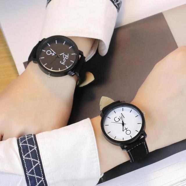 2018 New Fashion Couples watch Girl & Boy Casual Analog Leather Sport Wrist Watc