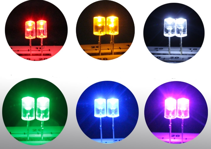 MIX 7colors Trhough Hole Flat Top Concave 5MM LED Diode Light Beads For Led Strip, Garland Lighting Source Etc