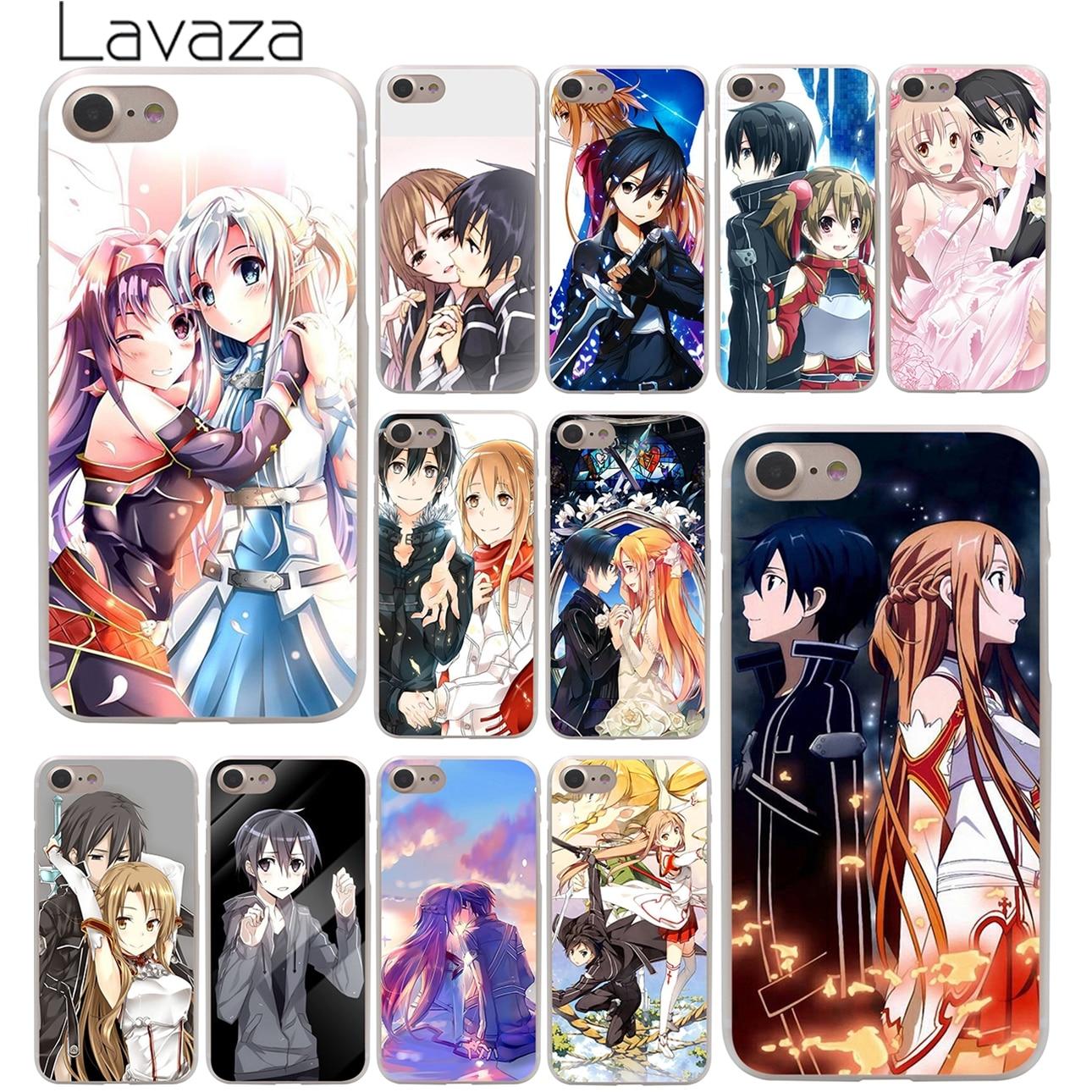 Lavaza Anime Sword Art Online game girl Asuna Krito Hard Case for iPhone 10 X 8 7 6 6s Plus 5 5S SE 5C 4 4S