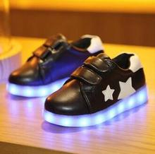 2017 new children's LED lights sports shoes boys and girls fashion cute USB charging luminous stars casual shoes
