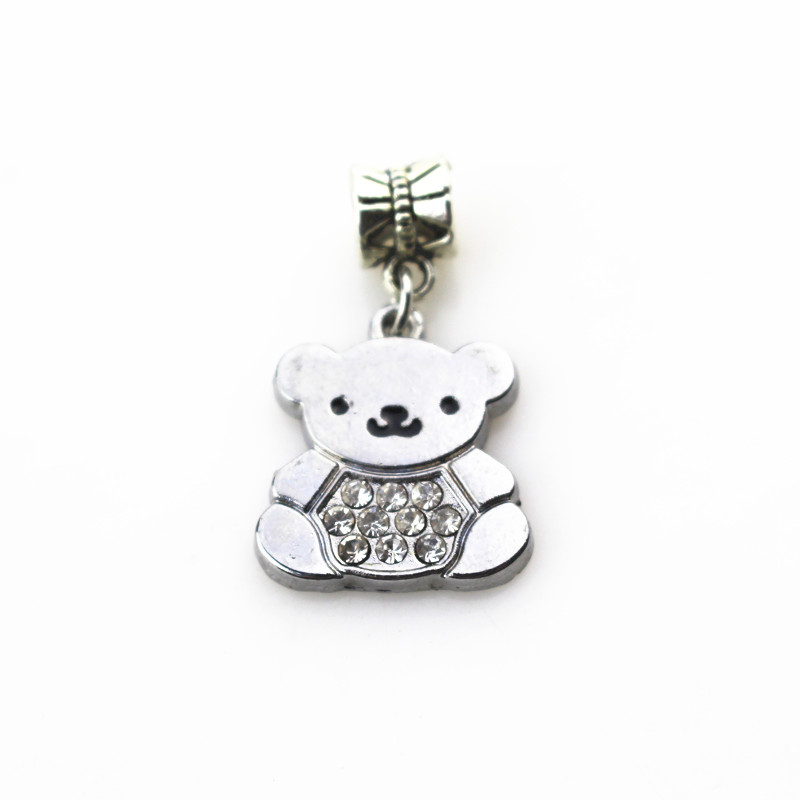 20pcs/lot crystal bear charms hanging charm big hole pendant beads charm fit pando bracelet diy jewelry dangle charms