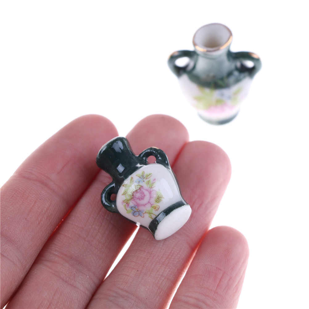 New 2 Sets Mini Doll House Mini Art Decorations Graduation Beautifully Designed Ceramic Vase