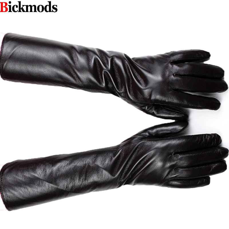 2017 New Long sheepskin gloves female long division refers brown leather gloves thin cashmere armband warm jacket free shipping