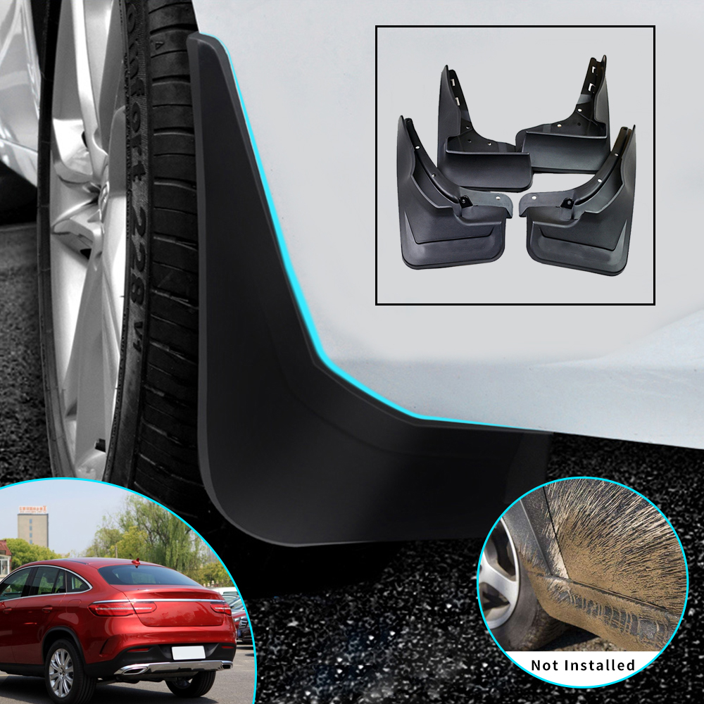 Front//Rear Rubber Moulded MUDFLAPS 4x Mud Flaps Universal Fit For MERCEDES C-180