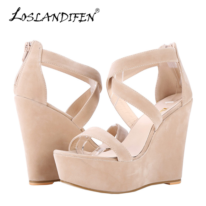 LOSLANDIFEN Women Sandals Nude New Platform Flock Gladiator Sandal Wedges Casual High Heels Shoes Lady Summer Shoe Wedding Party 2017 summer new rivet wedges sandals creepers women high heel platform casual shoes silver women gladiator sandals zapatos mujer