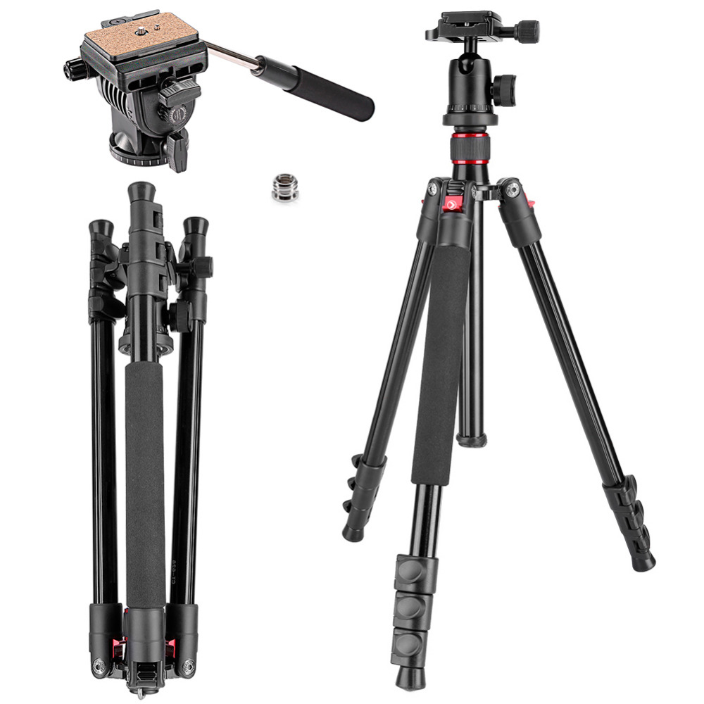 Neewer Portable Tripod 62 inches/158cm with 1/4-inch Quick Release Plate+Bubble Level, Professional Alluminum Alloy Tripod Head