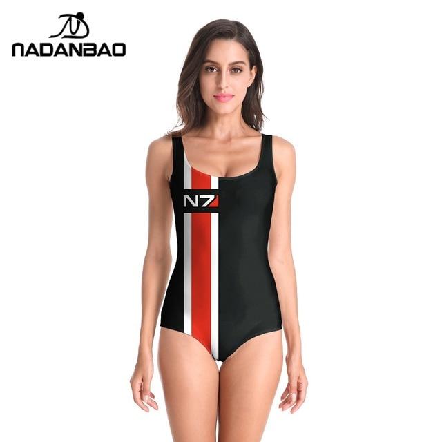 49f3c7989ac92 NADANBAO Sexy Bathing Suit Swimwear Women N7 Digital Printed Women  Sleeveless Beach Cover Up One Piece Swimsuit B126-014