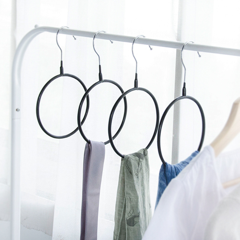 home 5Pcs/Set PVC Multifunctional Clothes Hanger Silk Scarf Storage Rack Shelf Toroidal Hanger Rack Tie Garment Towel Holder