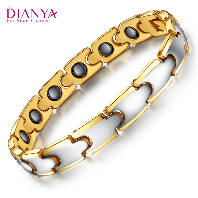 Tungsten steel rose gold plated magnetic health care Men's bracelet WS405