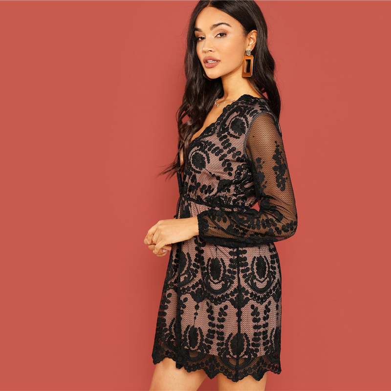 8630c99446e6e SHEIN Black Party Embroidered Mesh Plunging Neck Bishop Sleeve High ...