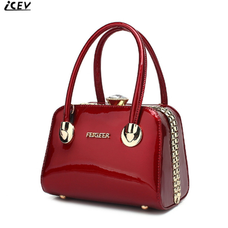 все цены на ICEV New Fashion Women Leather Handbag Patent Leather Bag Handbags Women Famous Brands Diamonds High Quality Ladies Office Totes