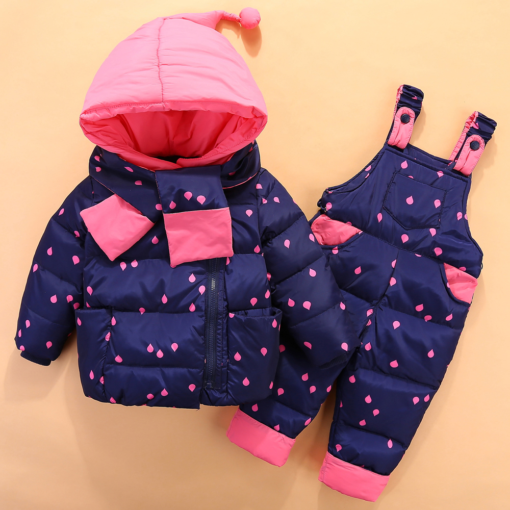 0 4 Years Baby Girls Boys Clothing Sets New Kids Winter Clothes 2pcs Skiing Suits Polka Dot Down Jacket+Jumpsuit Infant Snowsuit