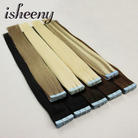 Isheeny 24 inches Remy Tape In Human Hair Extensions 20pcs Tape Extension Straight European Hair Bundle Skin Weft Free Shipping