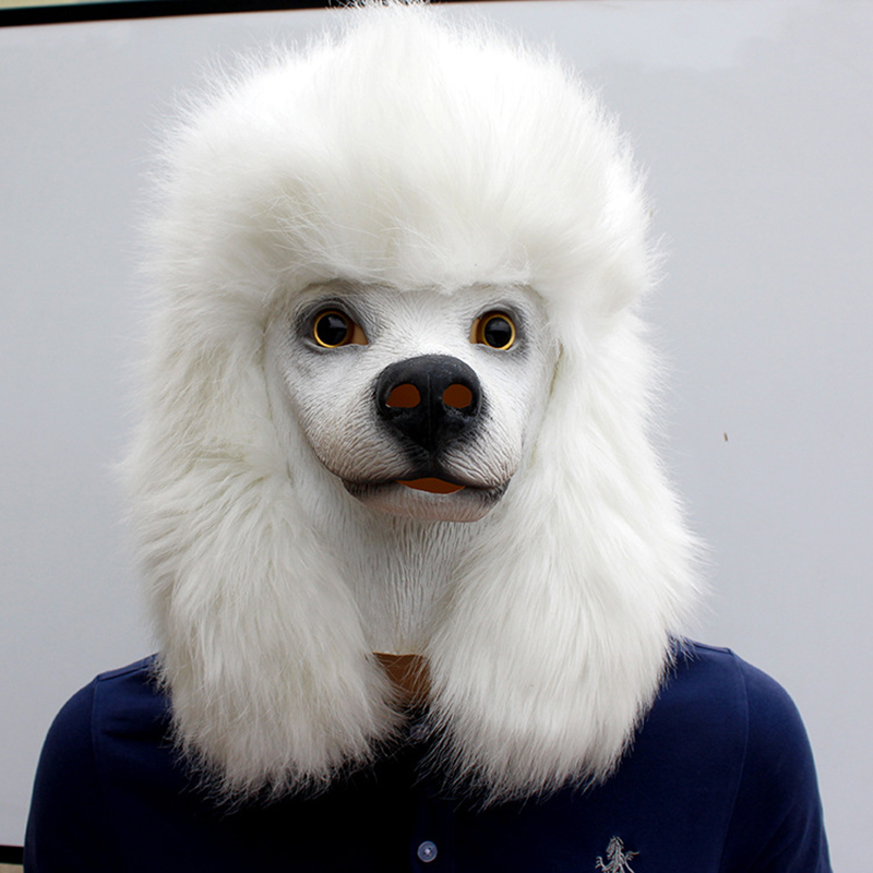 Christmas White Poodle Dog head Party Mask Latex With Further Animal Cosplay Fancy Dress Masks Adult Funny Costume PropsParty Masks   -