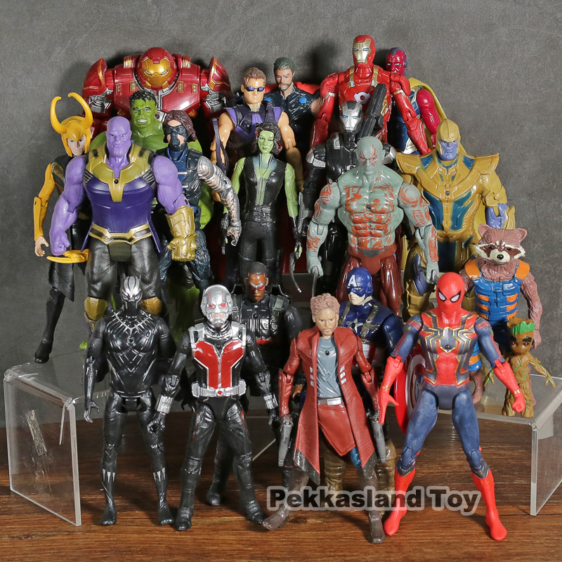 Marvel Avengers Infinity War Thanos Iron Man Captain America Thor Hulk Black Panther Star Lord Antman figurines 21 pièces/ensemble