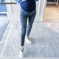 2019 new jeans pregnant women white section of pregnant women pants stretch belly maternity pregnant clothes