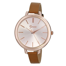 Girls Woman Analog Huge Dial Slim Leather-based Strap Luxurious Costume Wrist Watch, Brown
