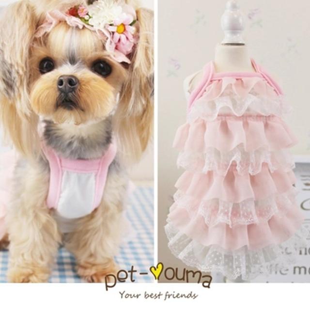 Cute Pink Dog Puppy Lace Dress Cat Pet Cake Tutu Skirt Luxury Princess Wedding