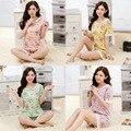 Новые Пижамы Женские Летние Кружева Цветочные Пижамы Набор С Коротким рукавом Милый Салон для Леди