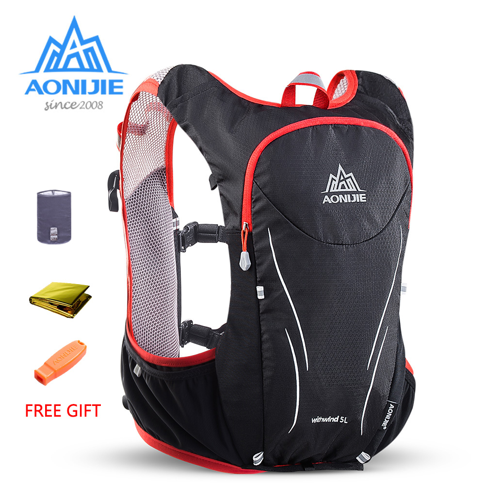 AONIJIE E906S 5L Upgraded Outdoor Running Bag Backpacks Marathon Reflective Hiking Cycling Backpack Hydration Vest Pack 2 Colors