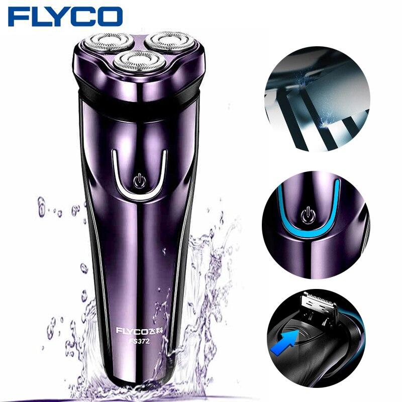FLyco máquina de afeitar eléctrica con 3D cabezas flotantes lavable Afeitadora eléctrica de carga LED pantalla máquina de afeitar para hombres FS372