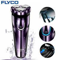 Flyco Rasoio Elettrico con 3D Teste Galleggianti Rasoio Lavabile Elettrica Display a Led di Ricarica Della Macchina da Barba per Gli Uomini FS372