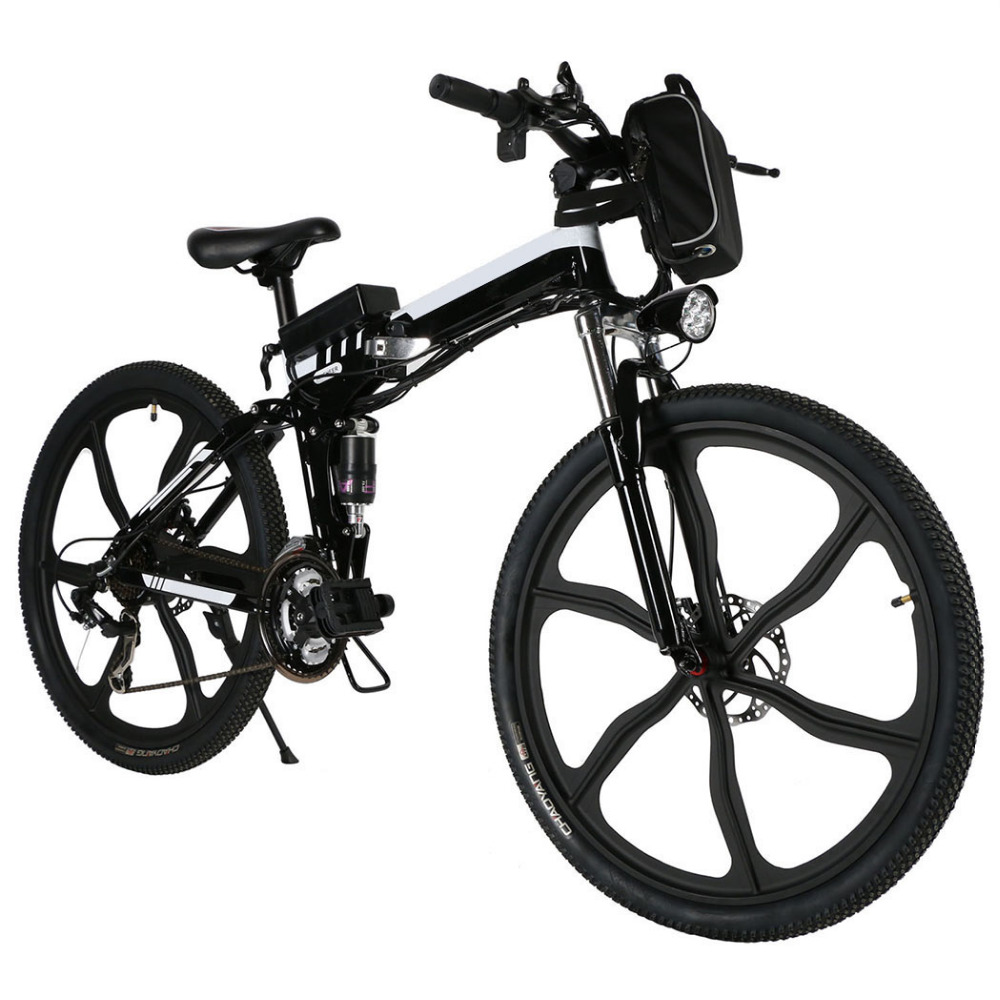 ANCHEER Foldable Electric Power Mountain Bicycle 26inch 21 Speed Lithium Ion Battery Bike Outdoor Camping Standard Padded Front