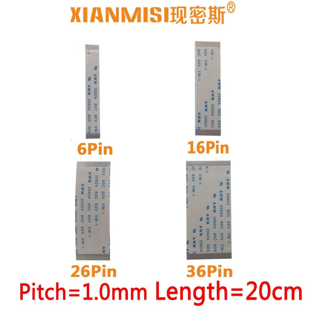 FFC/FPC Flat Flex Ribbon Cable 6Pin 16Pin 26Pin 36Pin Same Side 1.0mm Pitch AWM VW-1 20624 20798 80C 60V Length 20cm 5PCS