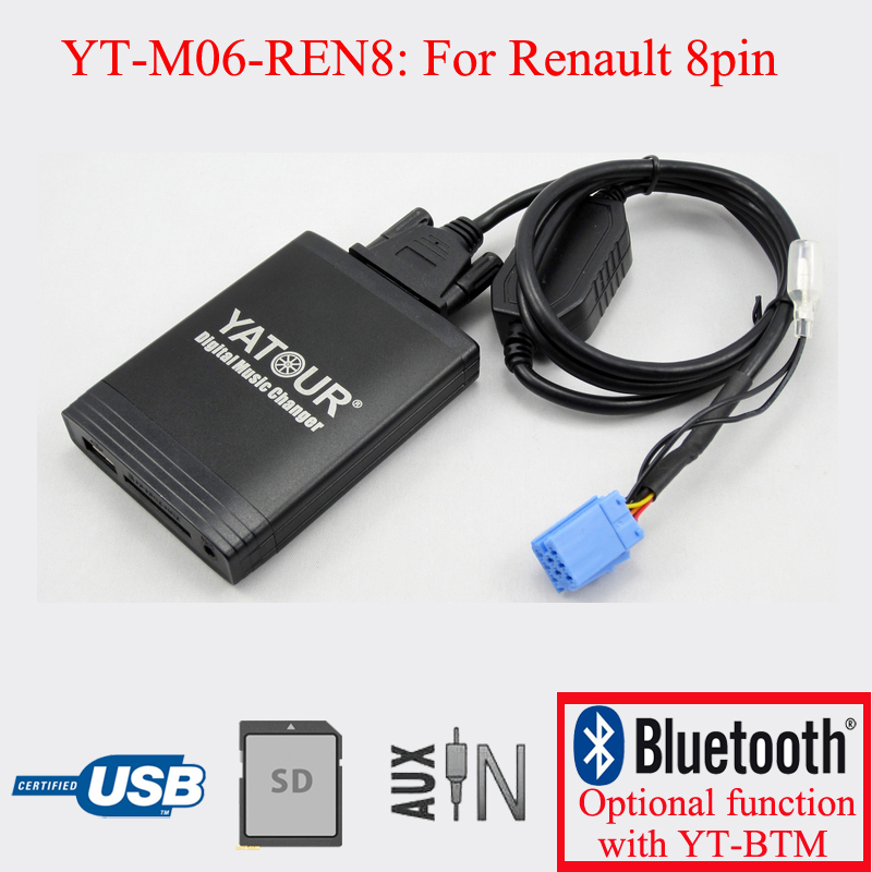 Yatour digital CD player USB SD AUX decorder player for VDO Renault 8pin Clio Megane Laguna Espace car usb sd aux adapter digital music changer mp3 converter for volkswagen beetle 2009 2011 fits select oem radios