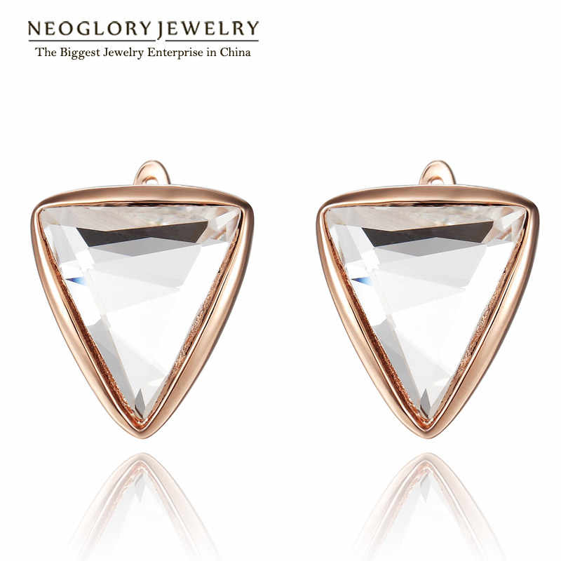 Neoglory Crystal Rose Gold Color Elegant Charm Stud Earrings for Women Brand Fashion Charm Jewelry 2016 New JS2 JS9