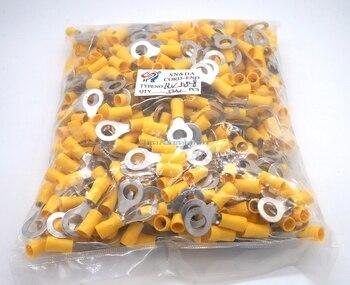 500pcs  Terminal RV5.5-8 12-10AWG 4.6-6.64mm^2 terminals Yellow Ring Terminal Brass