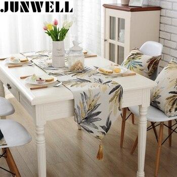 Junwell Moda Moderna Corredor Da Tabela Cutwork Colorido Nylon Jacquard Corredor Da Tabela de Pano Com Borlas Corredor Da Tabela Bordado