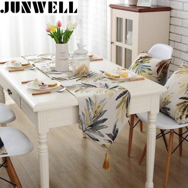Junwell ファッション現代のテーブルランナーカラフルなナイロンジャカードテーブルランナーテーブルクロスタッセルとカットワーク刺繍テーブルランナー
