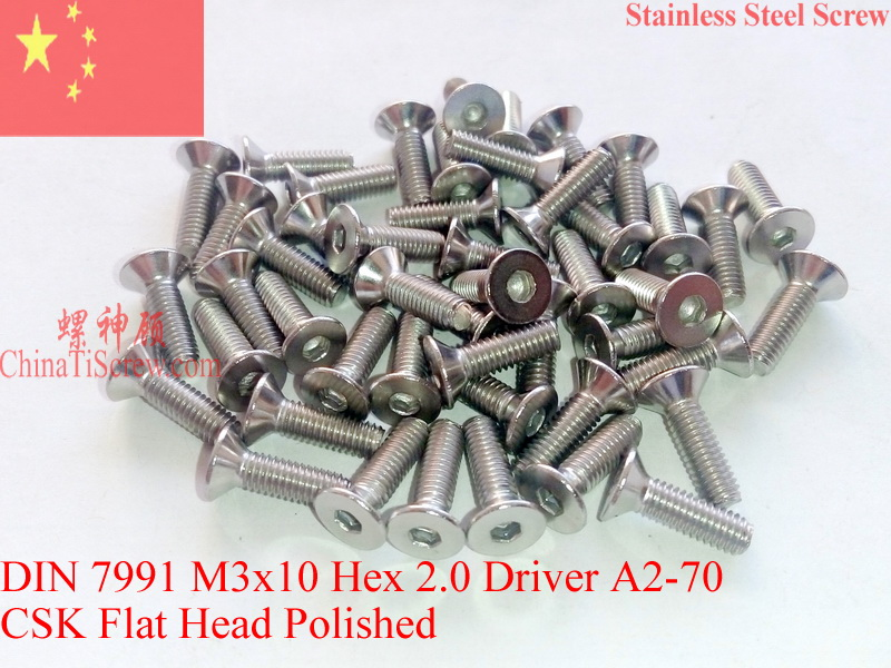 Stainless Steel screws M3x10 CSK Flat  Head DIN 7991 Hex Driver A2-70 Polished ROHS 100 pcs