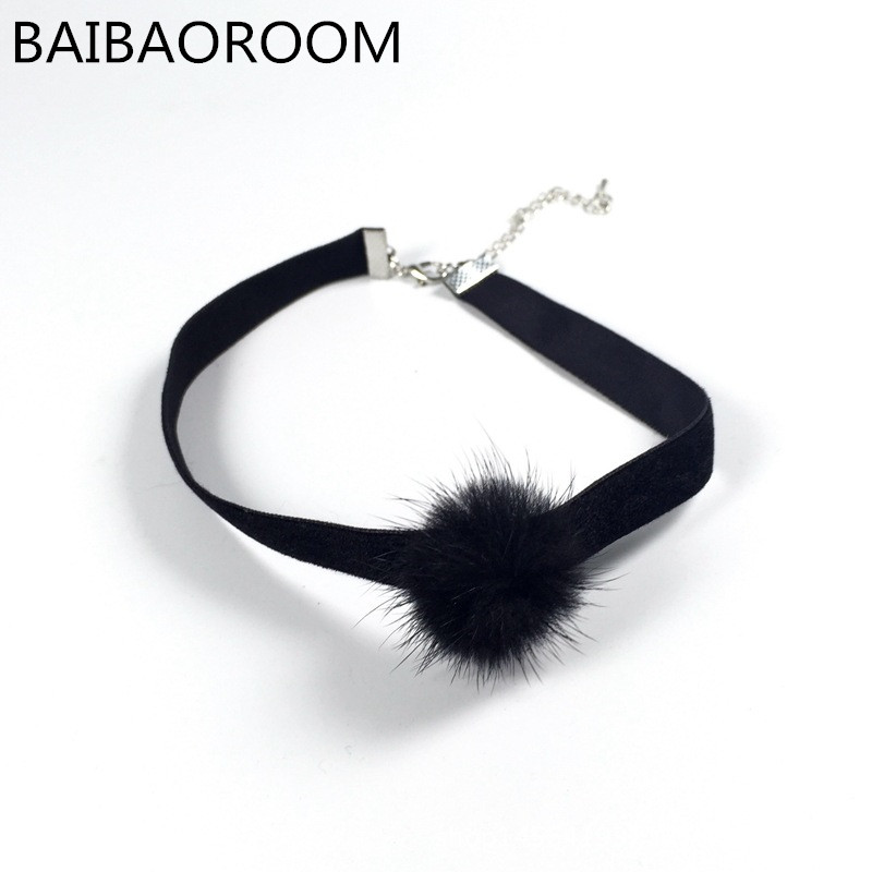 new black velvet choker choker necklace women fur ball chocker pom pom pom chokers. Black Bedroom Furniture Sets. Home Design Ideas